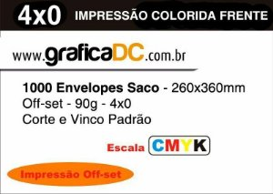 1000 - Envelopes Saco - 260x360mm - Papel Off set 90grs. - Branco - 4x0 colorido