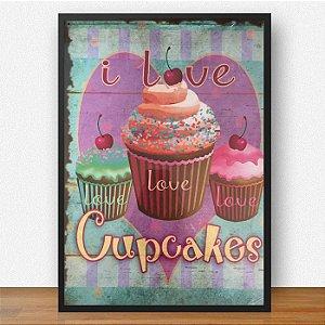 Quadro Decorativo Cupcakes ArtMDF 28x41 ref Q015