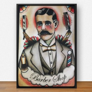 Quadro Decorativo Barber ArtMDF 28x41 ref Q011