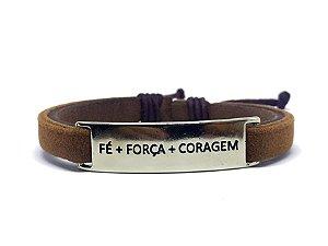 PULSEIRA FÉ FORÇA CORAGEM MARROM REF P476