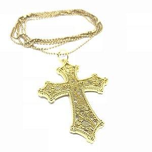 Colar Kodo Acessórios LONG Crucifixo Dourado