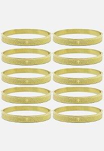 Kit 10pçs Pulseira Kodo Acessórios Bracelete Pai Nosso Dourado