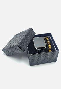 Kit 2pçs Pulseira + Relógio Kodo Acessórios Preto