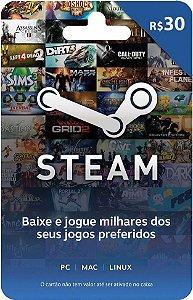 Cartão Pré-Pago Steam R$30