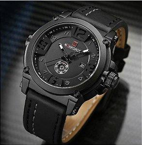 072df082ee9 Relógio De Luxo Pulseira De Couro Data Automática 5664