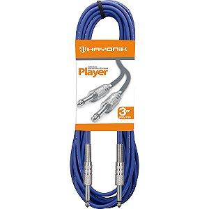 Cabo para Instrumentos Hayonik Player P10 x P10 3m Azul