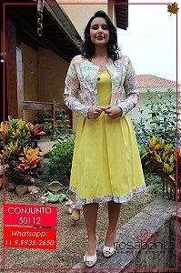 Conjunto Vestido c/ Casaqueto- Bengaline Liso + Sarja Estampada - 50112
