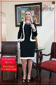 Conjunto Vestido c/ Casaqueto Patricia - Bengaline Maquinetada - 50114