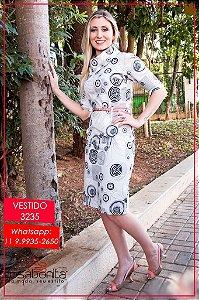 Vestido Gola Rolê - Sarja estampada - 3235