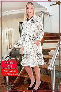 Vestido Transpassado Cintura Baixa - Linho estampado - 3236