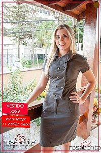 Vestido Tubinho c/ Botões - Sarja Maquinetada - 3239
