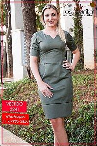 Vestido c/ Barrado Abertura c/ Botões - Sarja Canelada - 3241