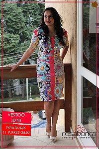 Vestido c/ Detalhes na Frente e nas Mangas - Bengalini Estampado e Liso - 3243