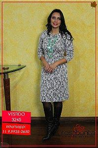 Vestido Tubinho Decote Princeza - Bengalini Estampado - 3245