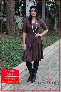 Vestido c/ Pregas Acinturada - Malha Suede Aveludada - 3246