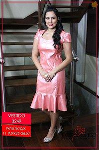 Vestido Barrado Godê - Couro - 3249