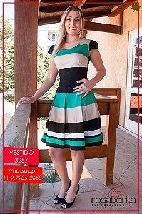 Vestido c/ Recortes Coloridos - Sarja - 3257