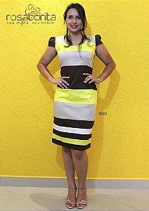 Vestido Listras Diferenciadas de cores - Sarja Liso - 3260