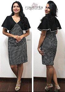Vestido Poá Manga Sino - Tricoline Poá c/ Forro - 3277