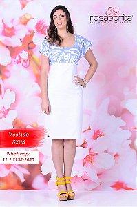 Vestido Manga Balonê - Sarja e Viscose (forrado) - 3203