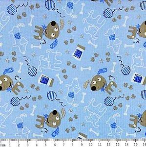Tecido Tricoline Cachorrinho Feliz - Fundo Azul Bebê