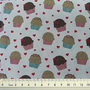 Tecido Tricoline Cupcake e Mini Corações - Fundo Creme
