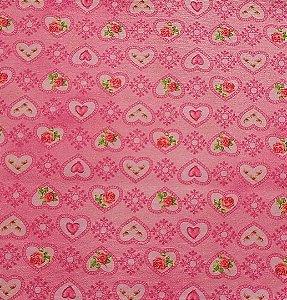 Tecido Tricoline Digital Coração - Fundo Rosa Claro
