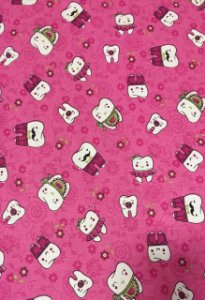 Tricoline 100% Algodão Dentinhos Fundo Pink