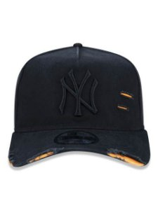 BONÉ NEW ERA 9FORTY A-FRAME ABA CURVA AJUSTÁVEL MLB NEW YORK YANKEES BASIC PRETO
