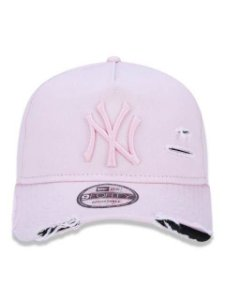 BONÉ NEW ERA 9FORTY A-FRAME ABA CURVA AJUSTÁVEL MLB NEW YORK YANKEES BASIC ROSA