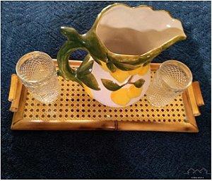 Bandeja M Búzios em Bambu c/ palha indiana natural e vidro 41X18