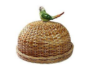 Boleira vime Natural com pássaro verde D= 35 cm e H= 20 cm