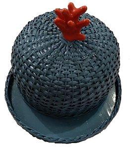 Boleira  Vime azul cinza com aplique de coral D=35xH=22cm