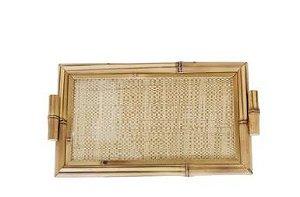 BJ03 Bandeja bambu Angra dos Reis palha natural c/alça M 18x30cm