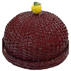 172 - Boleira vinho em vime limão siciliano H= 16 cm e D=35 cm