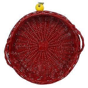 136 - Cesta M vermelha com alça em vime limão siciliano H=7 cm, D= 38 cm