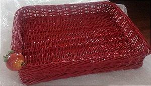 352 - Bandeja G vermelha em vime com romã H=7 cm, L= 35 cm, C= 46 cm