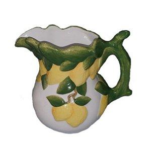 1107 - Jarra em cerâmica com limão colorido H=17 cm, L= 16,5 cm, C= 20 cm