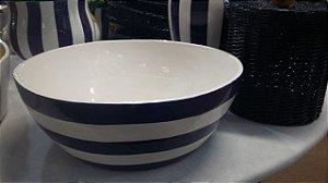 516 - Bacia Redonda em cerâmica com listra Azul e Branca H= 14,7 cm, L= 37 cm, C= 37,5 cm