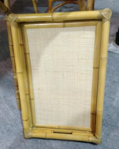 Bandeja  em bambu natural com palha 70x52 cm