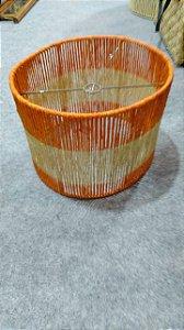 Pendente redondo ou cúpula em palha cor laranja 36x36