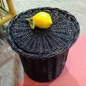 Lixeira azul marinho em Vime limão siciliano