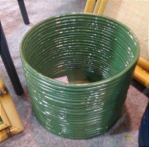 Cachepot M rattan verde