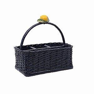 Porta talheres em vime azul marinho com  limão siciliano