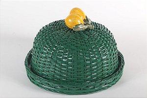Boleira verde em vime com duplo limão siciliano.  D=35 x H=15 cm