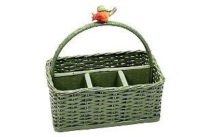 Porta talheres em vime verde musgo com cerâmica romã A 26cm - C 28cm - L 17cm