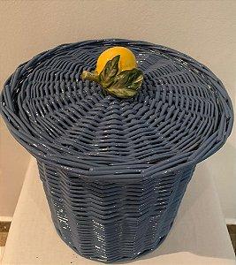 905 - Lixeira azul cinza com limão siciliano H=19 cm, D=14 cm