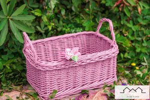 Cesto P/ Pães com alça em vime com aplique de cerâmica flor rosê