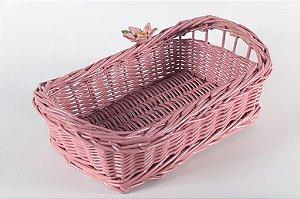 Cesto P/ Pães rosê sem alça  com flor rosê