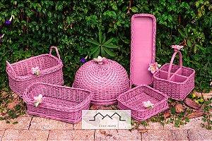 Kit em vime rosê e aplique cerâmica